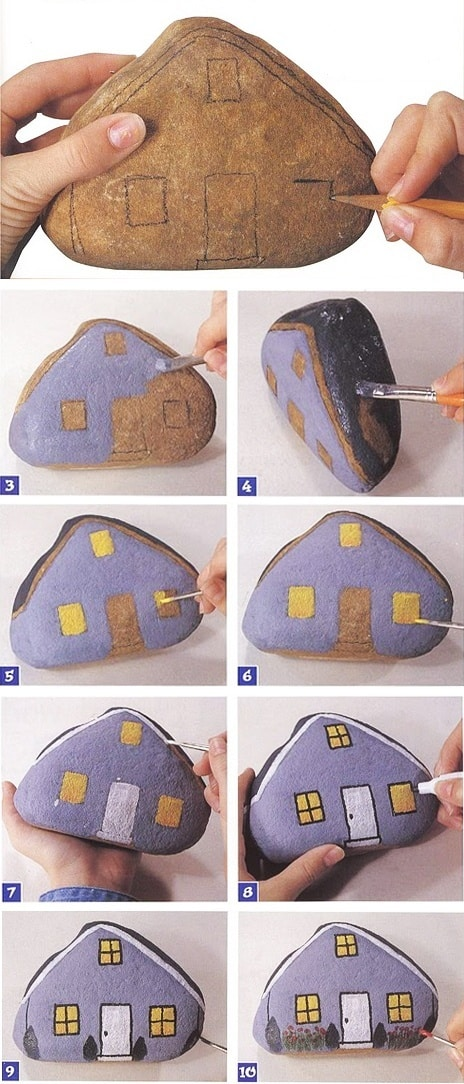 Painted rock houses how to