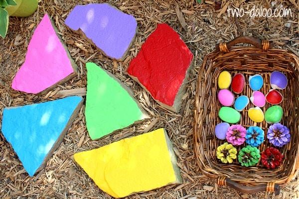 Colour matching garden game stones rocks pebbles