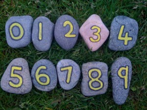painted number maths rocks
