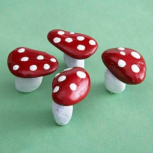 painted rock toadstools mushrooms