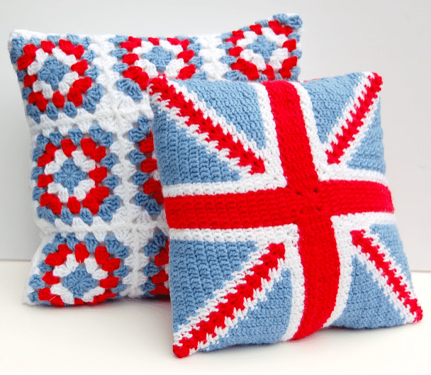 crochet union jack cushion
