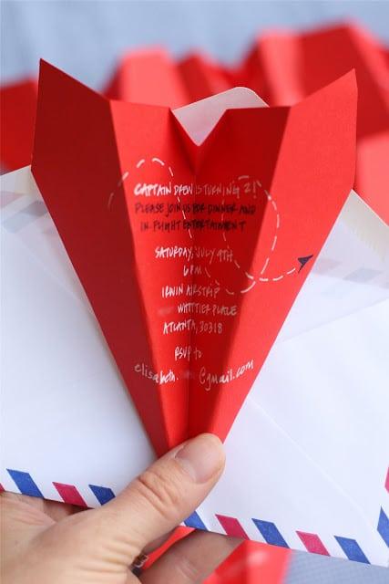 paper plane party invite