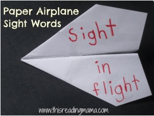 sight word paper plane game