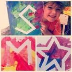 Craft ideas for kids: Masking tape canvas painting
