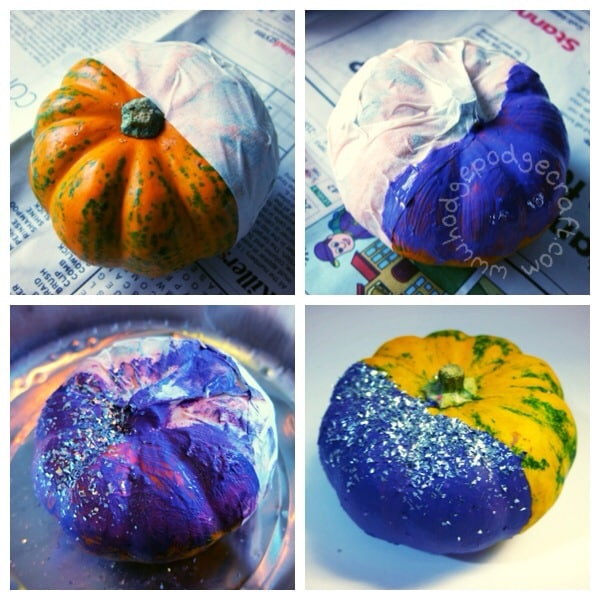 Easy no carve mini glitter pumpkin thumbnail