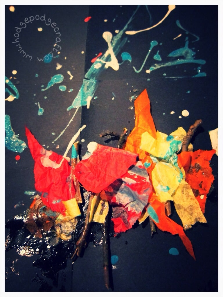 mixed media firework collage