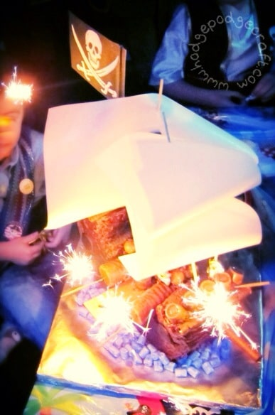 Chocolate pirate ship cake sparklers