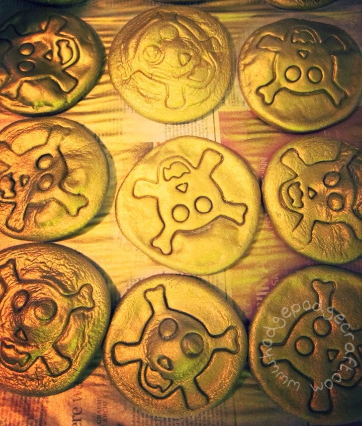 Salt dough doubloons for a pirate party