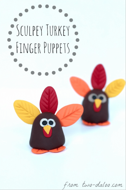 Sculpey turkey finger puppets