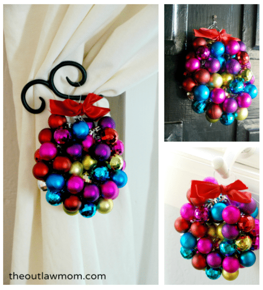 mini bauble ornament wreath how-to