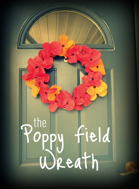 paper napkin DIY poppy wreath