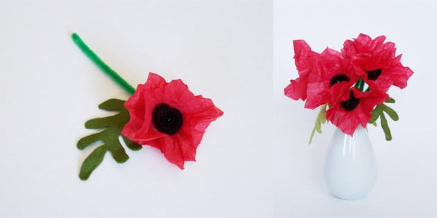 pipecleaner tissue paper felt poppy