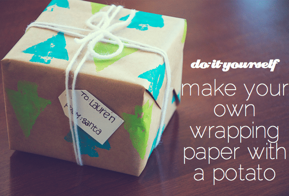 potato print Christmas wrapping paper
