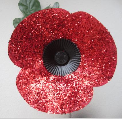 glitter Mod Podge poppy