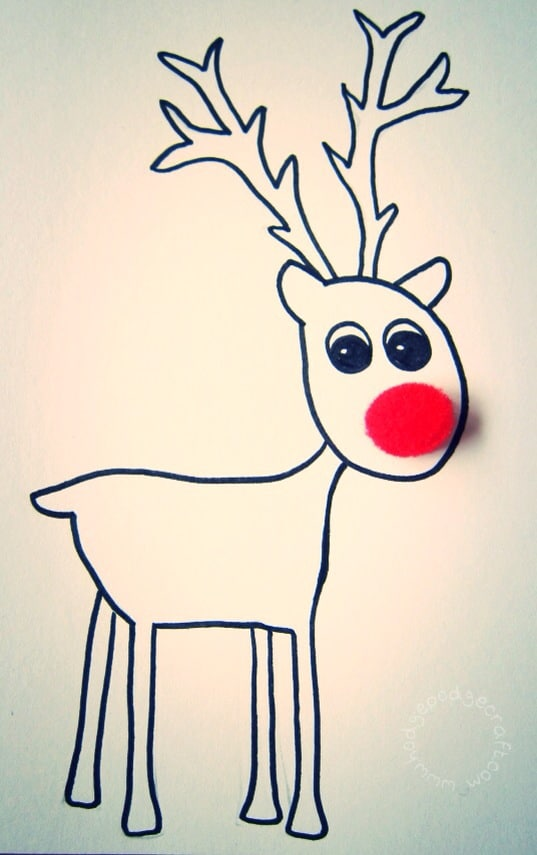 Reindeer Christmas Cards Drawings.Pompom Reindeer Christmas Cards Free Printable