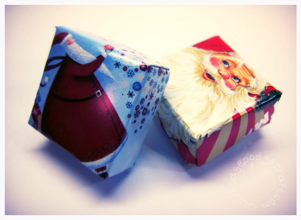 Favour boxes from recycled Christmas cards