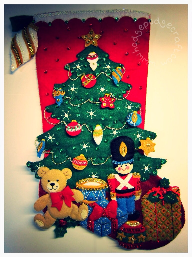 Christmas stocking felt appliqué