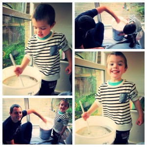 Wordless Wednesday: home-brewing with Daddy!