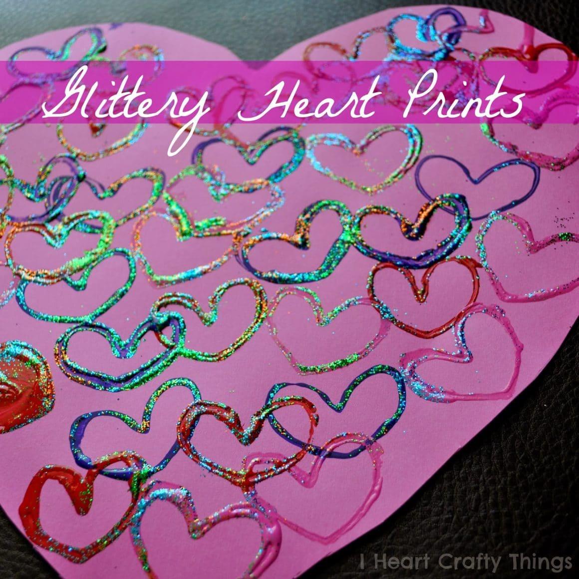 glittery heart toilet paper prints