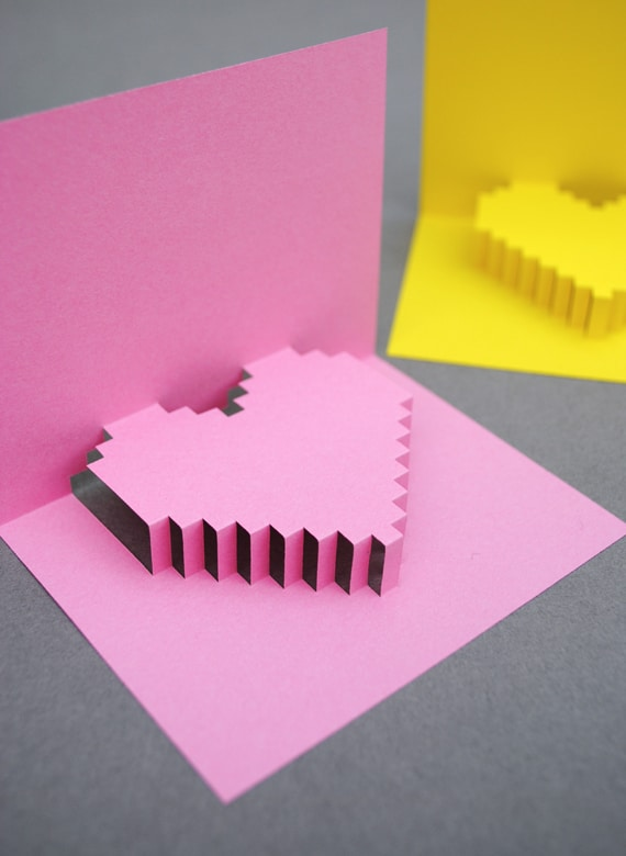 pixel heart pop up card