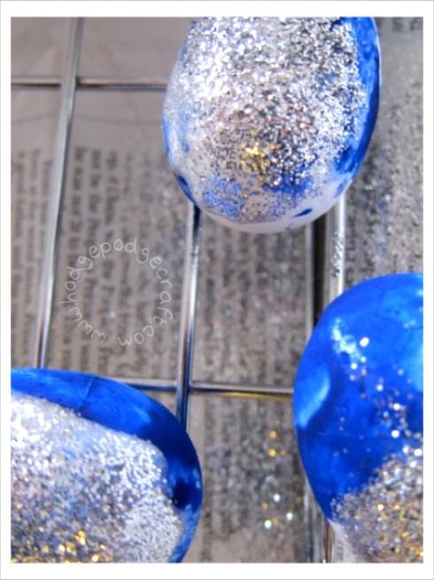 Glitter eggs for Easter decorations