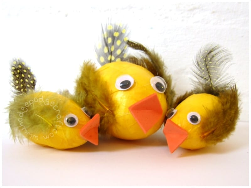 Easter egg papier mache chicks