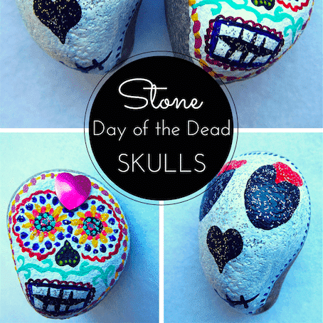 painted stone day of the dead skulls thumbnail