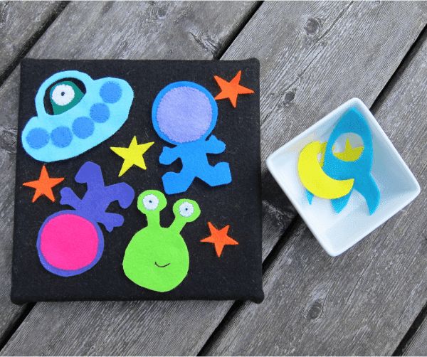 space themed DIY fuzzy felt