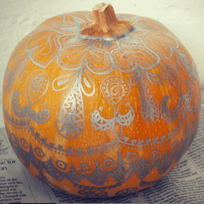 Metallic Sharpie mandala pumpkin thumbnail