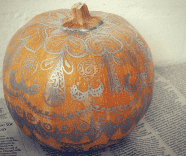 No-carve Sharpie mandala pumpkins