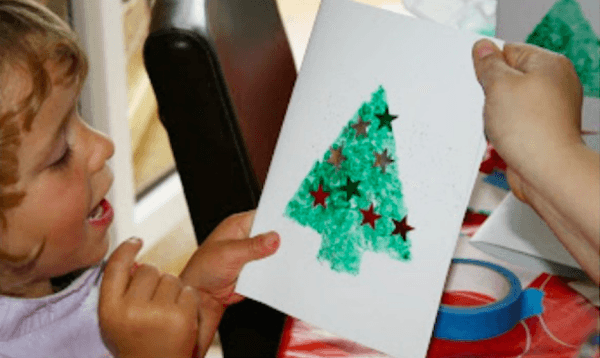 Glitter stencil Christmas tree