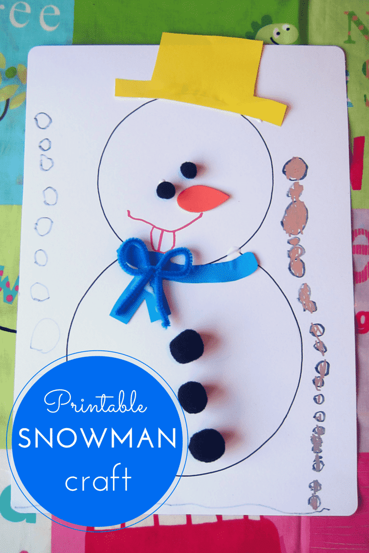 Printable snowman craft for kids for Free christmas crafts for kids