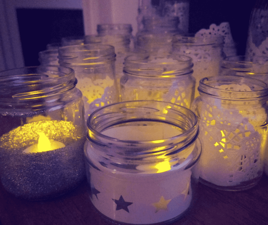 DIY cut-out star jam jar lantern