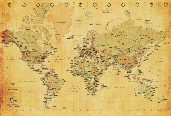 Vintage World Map 3150x2320