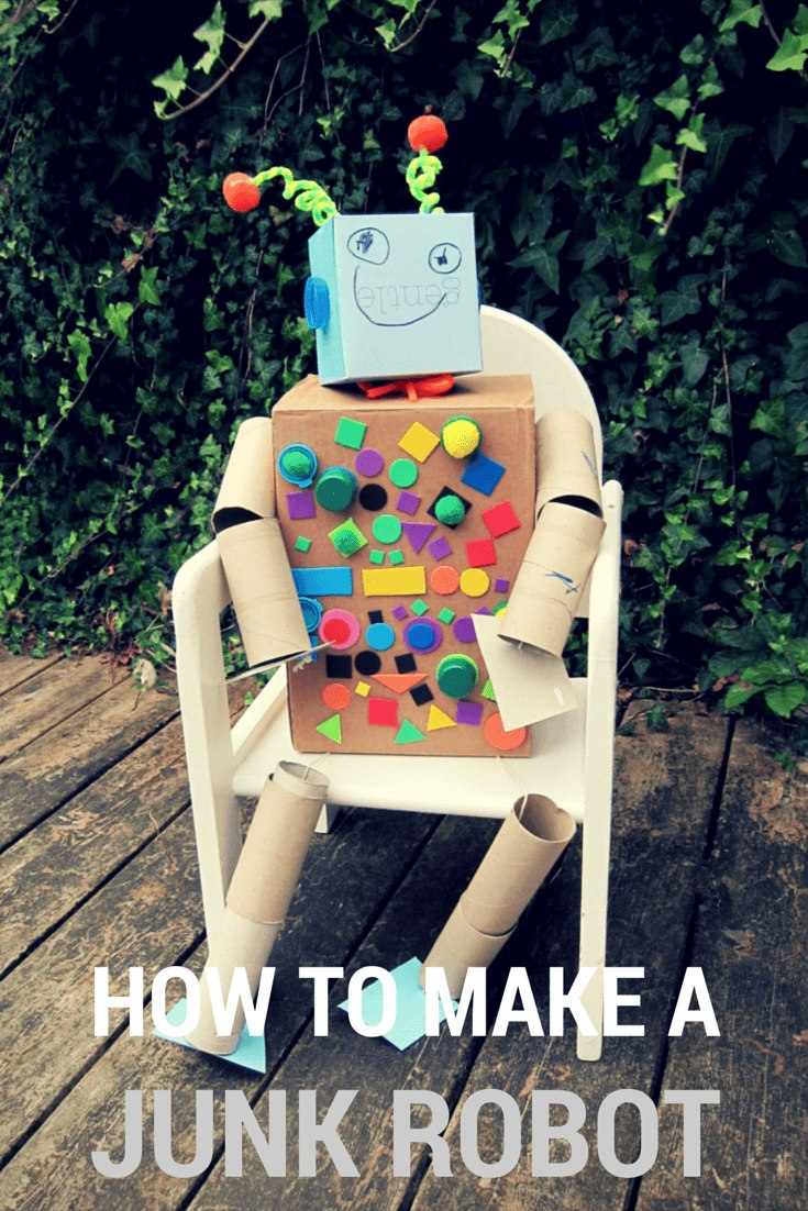 Earth day kids' craft: recycled junk robot