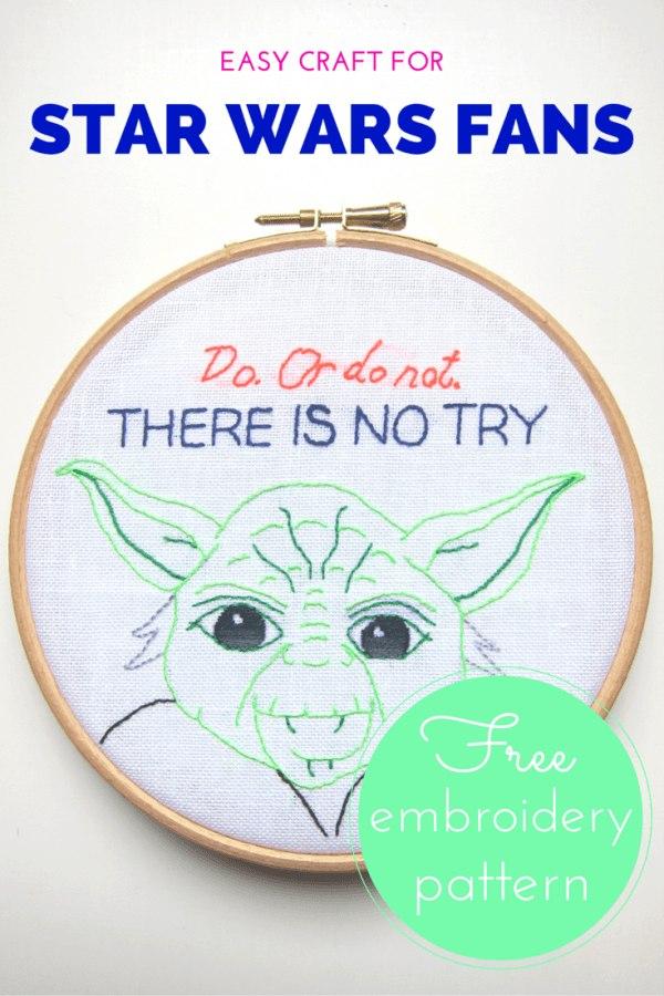 Star Wars Yoda embroidery free pattern