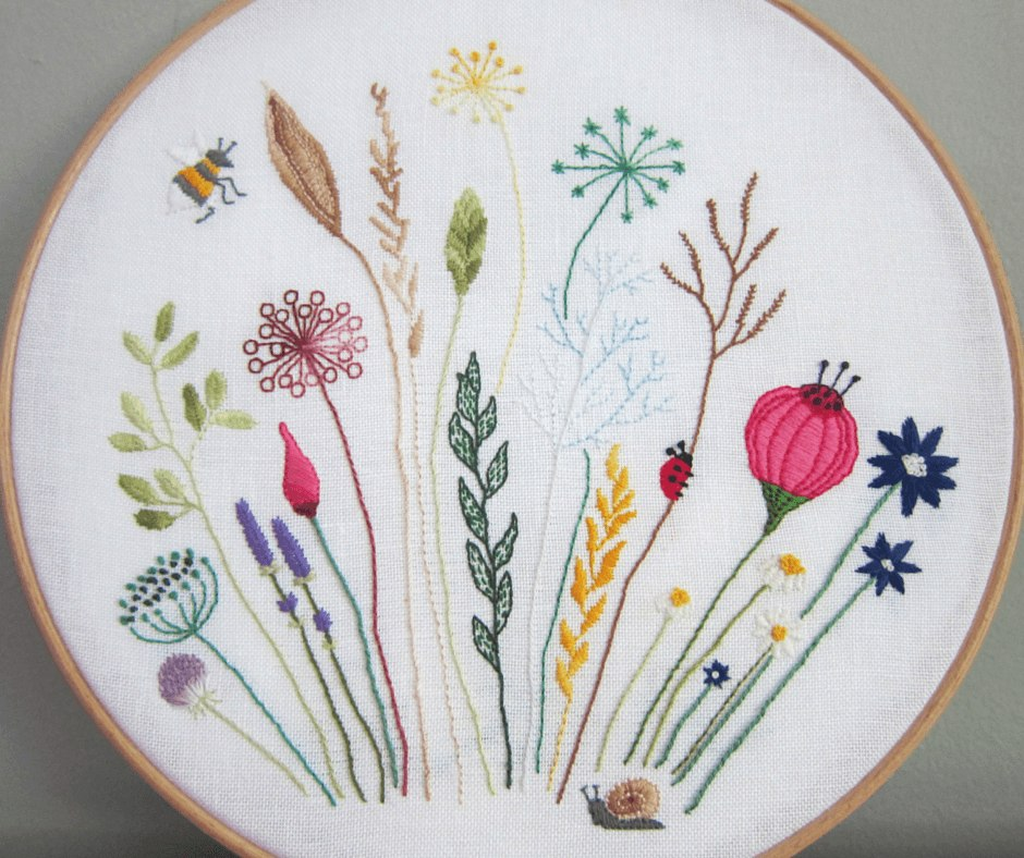 Free floral meadow embroidery pattern