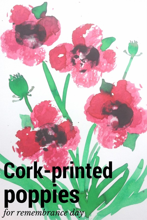 Cork-printed poppies