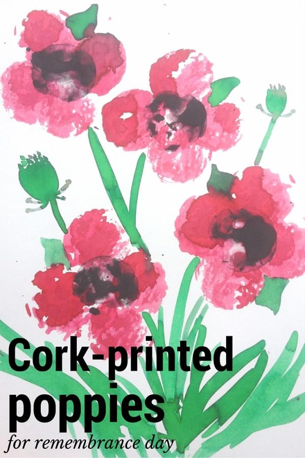 Cork-printed poppies