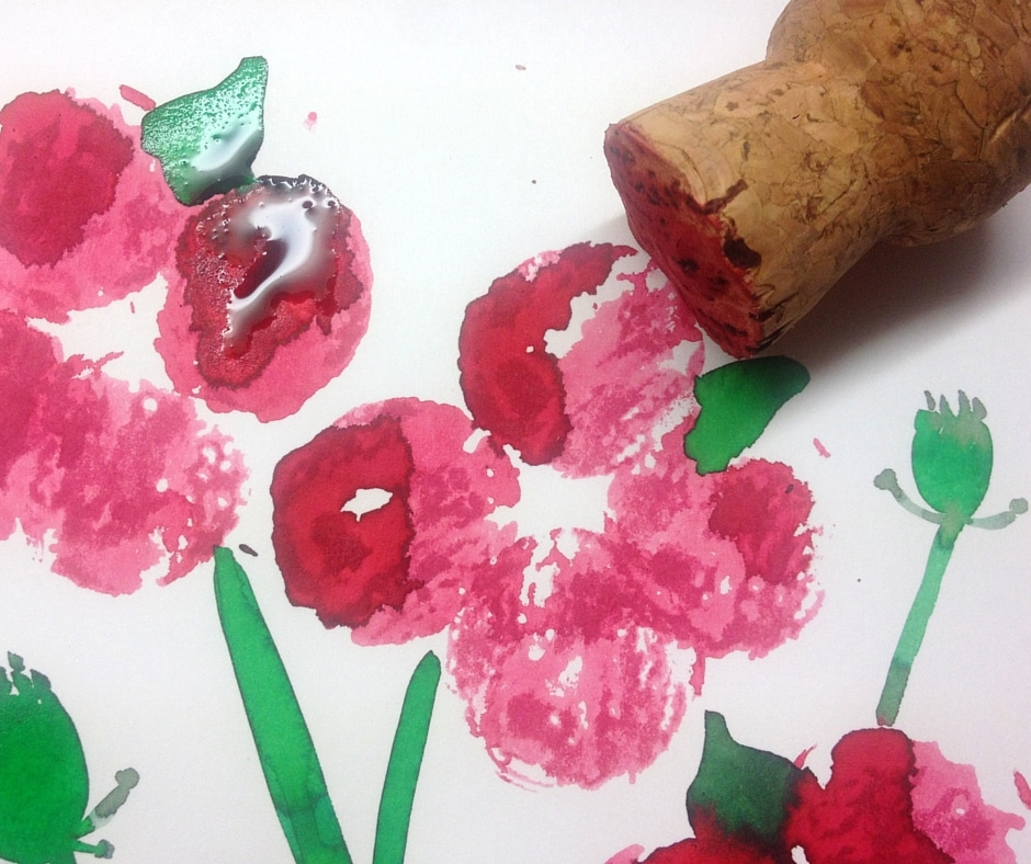Watercolour cork print easy poppy craft