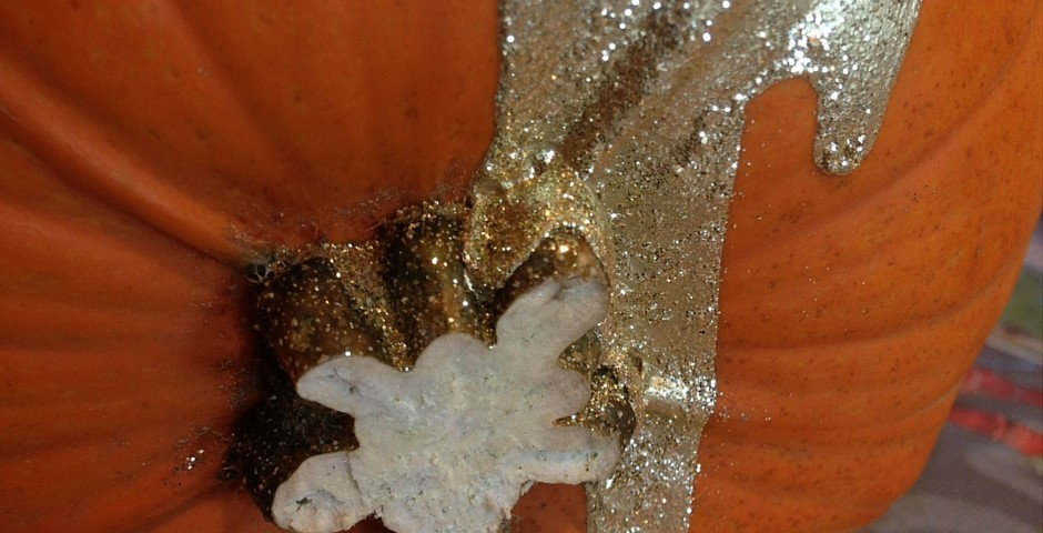 Glitter pumpkin close up