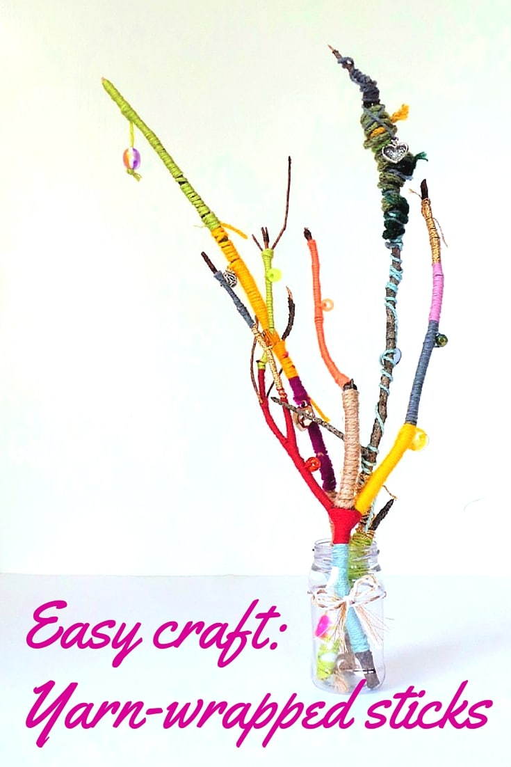 Easy yarn craft wrapped sticks